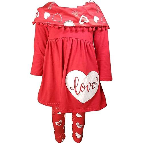 da747fa6e427d Angeline Girls Valentine's Day Outfit Set - Love Hearts Top Leggings Scarf  Set - Exclusive Designer's