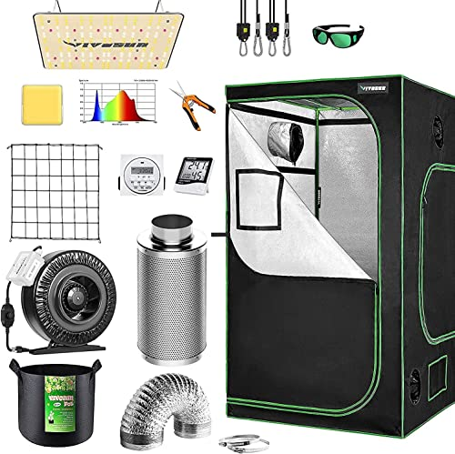 """wholesale VIVOSUN online Grow Tent Complete Kit, 48""""x48""""x80"""" Growing Tent with VS1000 Led Grow Light 6 Inch popular 440CFM Inline Fan Carbon Filter and 8ft Ducting Combo online sale"""
