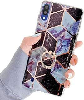 Uposao Compatible with Samsung Galaxy A10 Case Geometric Marble Glitter Case for Girls Slim Anti-Scratch Flexible Silicone Rubber TPU Bumper Soft Case with Ring Holder,Brown