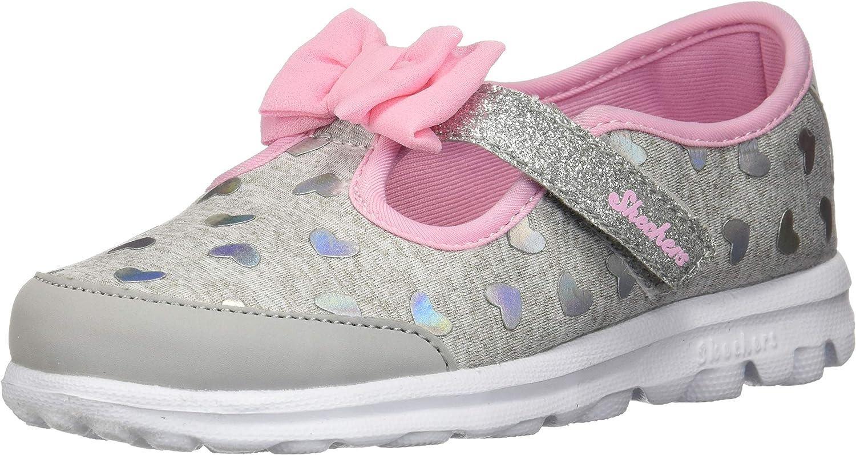 Skechers Go Walk Girls BH Mary Jane Flats Bow Detail Hearts Grey/Pink C8 US