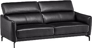 Rivet Kaden Mid-Century Modern Adjustable Headrest Leather Loveseat Sofa, 77.5
