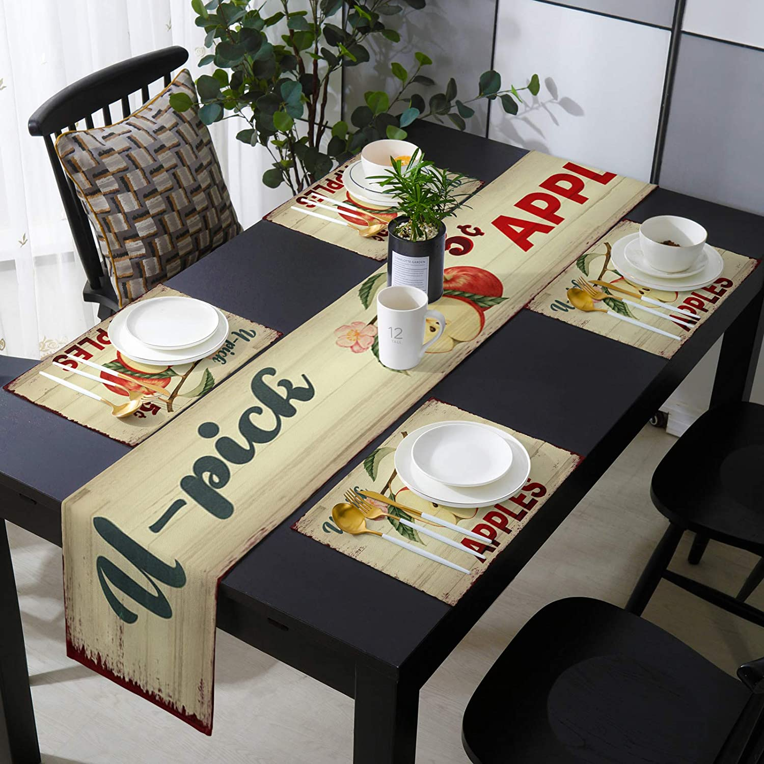 OneHoney Countryside 爆売りセール開催中 Red Apples Table and Set Placemats o Runner 大放出セール
