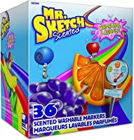 Mr. Sketch 2003992 Scented Washable Markers, Chisel Tip, Assorted Colors, 36 Count