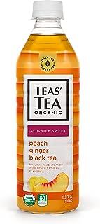 Teas' Tea Organic Lightly Sweet Peach Ginger Black Tea 16.9 Ounce (Pack of 12) Organic Cane Sugar Sweetened No Artificial Sweeteners Antioxidant Rich High in Vitamin C