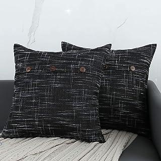 QOPOYU Set of 2 Farmhouse Linen Throw Pillow Covers Decorative Pillows of Triple Button Vintage Pillowcase for Couch Sofa ...