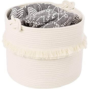 CherryNow Large Woven Storage Baskets – 16'' x 13'' Cotton Rope Decorative Hamper for Nursery, Toys, Blankets, and Laundry, Cute Tassel Nursery Decor - Home Storage Container