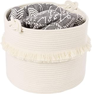Large Woven Storage Baskets – 16'' x 13'' Cotton Rope Decorative Hamper for Nursery, Toys, Blankets, and Laundry, Cute Tassel Nursery Decor - Home Storage Container