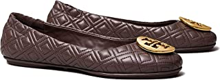 Tory Burch Minnie Quilted Travel Ballet TB Logo Nappa Leather Size 8
