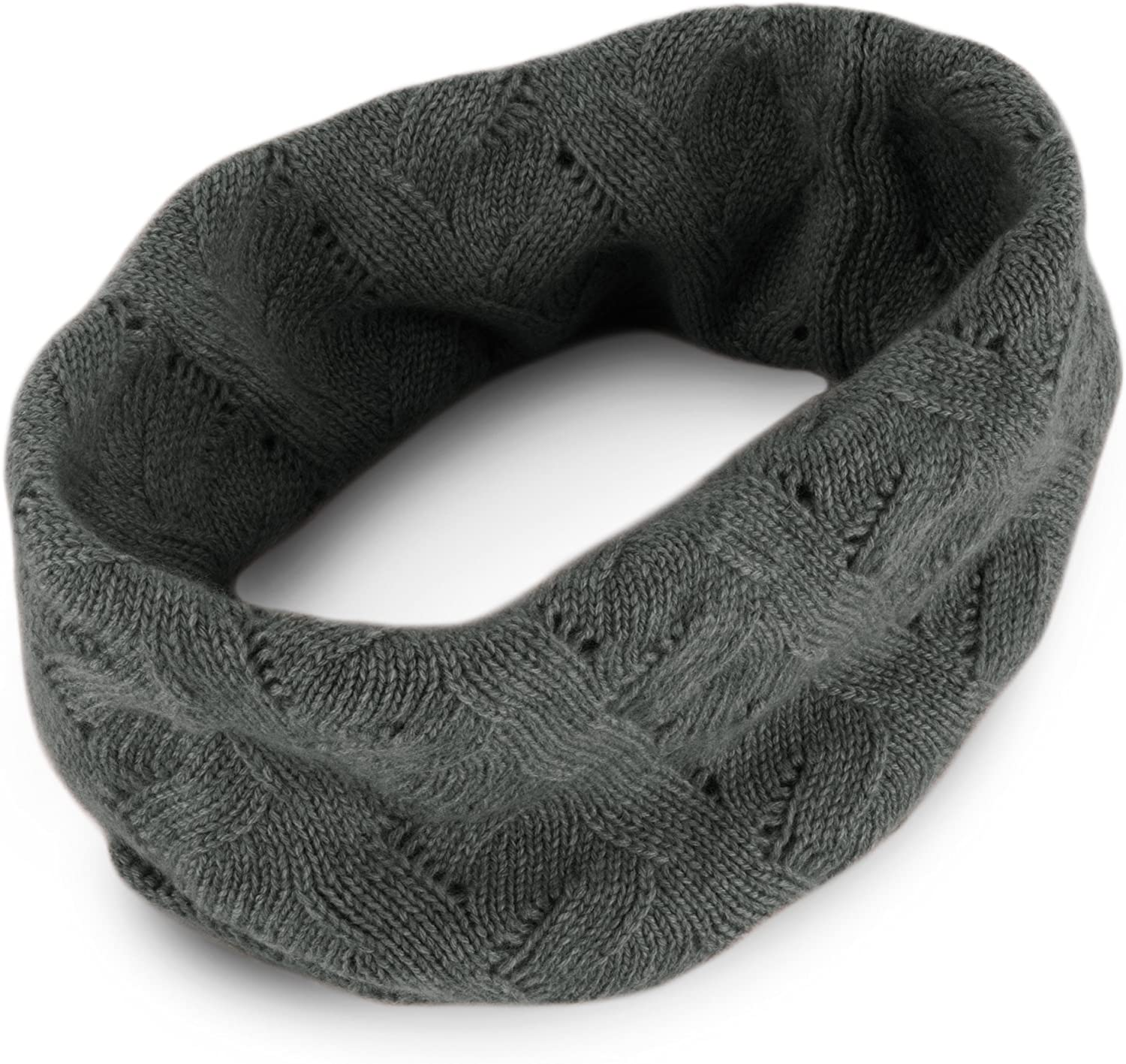 Ladies 100% Cashmere Infinity Scarf Chicago Mall Snood Dark in made - excellence Gray