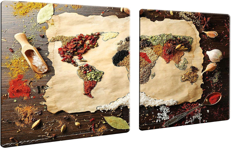 Decorwelt CTC-Trade - Cubiertas para vitrocerámica (2 Unidades, 40 x 52 cm, 2 Unidades, Cristal), Color Rojo y marrón