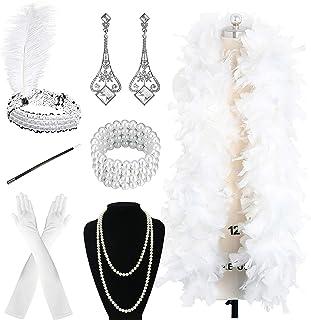 Zivyes 1920s Accessories Flapper Costume for Women Headpiece Cigarette Necklace Gloves
