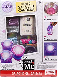 Project Mc2 Galactic Slime Candles STEM Science Kit by Horizon Group USA, Make Your Own LED Candles with Gooey Slime Putty & Colored Sand, Glitter & Beads Included, Blue Pink & Purple
