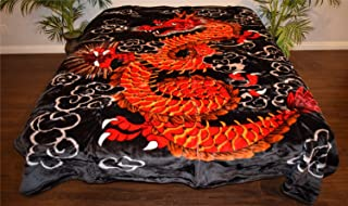V's Signature Collection Red Oriental Chinese Dragon Luxury Super Soft Medium Weight Queen Size Mink Blanket 1ply