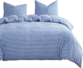 Wake In Cloud - Blue Plaid Duvet Cover Set, Buffalo Check Gingham Geometric Checker Pattern Printed in Blue White, Soft Microfiber Bedding with Zipper Closure (3pcs, Queen Size)