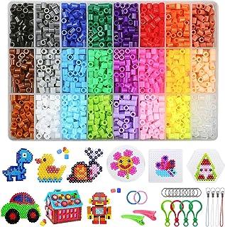 4300 Perles à Repasser, 5mm 24 Couleurs Kit de Perles de fusible Bricolage Avec Panneau Perforé Cartes à Motifs Pince à ép...