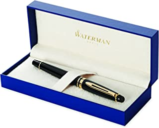 Waterman Expert Fountain Pen, Gloss Black with 23k Gold Trim, Fine Nib with Blue Ink Cartridge, Gift Box