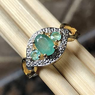 Natural Green Emerald, White Topaz 14K Yellow Gold over Sterling silver Engagement Ring Size 8