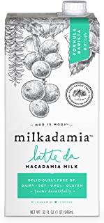 Milkadamia Latte Da Macadamia Milk Barista Blend, Dairy Free, Vegan, 32 Fl Oz, Pack of 6