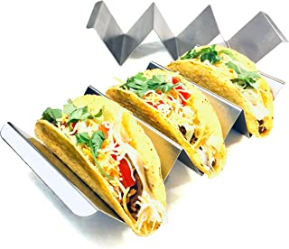 Taco Holder Stand Stainless Steel Hold Tacos with 2 Salad Cups Wave Shape UK