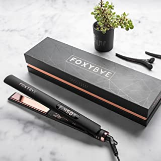FoxyBae ROSE GOLD TRÉS SLEEK Titanium Flat Iron - Digital Temperature Control Ionic Hair Straightener with Auto Shut Off and Quick Heating - MSRP $179