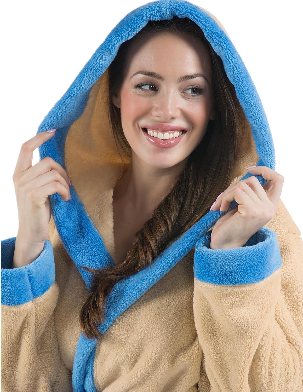 CelinaTex Kos Damen Bademantel mit Kapuze Sherpa-Fleece Saunamantel kurz Morgenmantel Kapuzen-Mantel Beige Blau