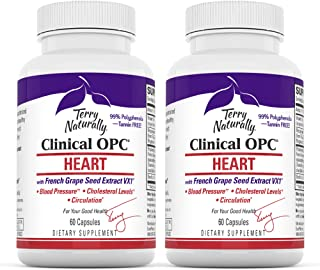 Terry Naturally Clinical OPC Heart (2 Pack) - 600 mg Grape Seed Complex, 60 Vegan Capsules - Cardiovascular Support Supple...