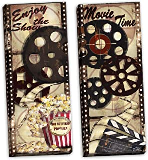 Gango Home Décor Movie Night! Classic Old-Fashioned Cinema Enjoy The Show and Movie Time Panel Set by TRE Sorelle Studios; Two 12x36in Stretched Canvases