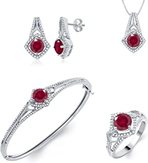 Ruby and Diamond Accent Ensemble 4 Piece Jewelry Set