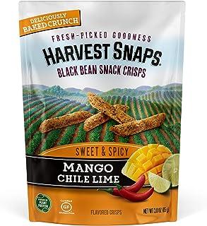 Harvest Snaps Black Bean Snack Crisps Mango Chile Lime, 3.0 oz (Pack of 4). Plant-based   Baked, never fried   Certified G...