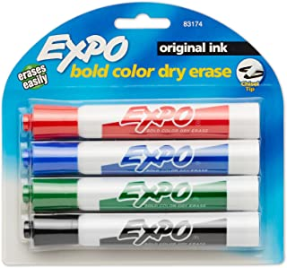 EXPO Low Odor Chisel Tip Dry Erase Markers, Chisel Tip, Assorted Colors, 4-Count
