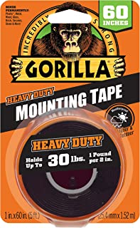 """Gorilla Heavy Duty Double Sided Mounting Tape, 1"""" x 60"""", Black 1 - Pack Black 6055001 1"""