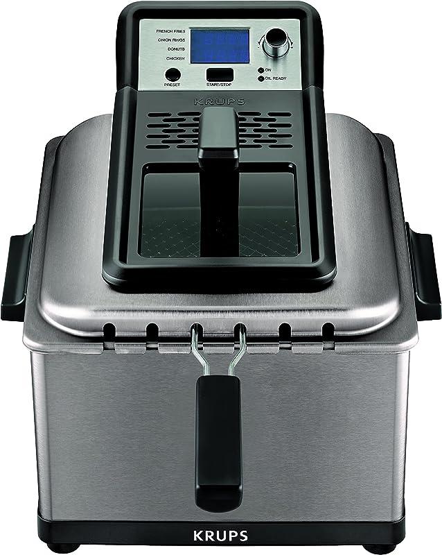 KRUPS KJ502D51 Deep Fryer Electric Deep Fryer Stainless Steel Triple Basket Fryer 4 5 Liter Silver