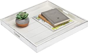 MyGift Vintage White 19-Inch Square Ottoman/Serving Tray with Cutout Handles