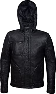 Ghost Protocol' Men's Black Wrinkled Hooded Mission Impossible Leather Jacket 2052
