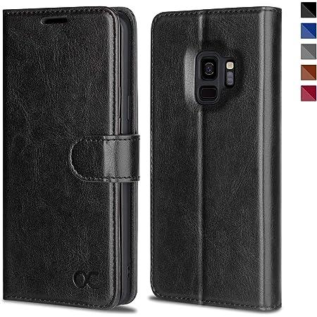 OCASE Samsung Galaxy S9 Case Leather Flip Wallet Case for Samsung Galaxy S9 Devices (Black)