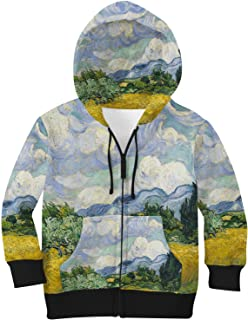 Rainbow Rules Vincent Van Gogh Fine Art Painting Kids Zip Up Hoodie Unisex
