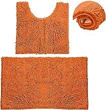Bathroom Rugs Chenille Bath Mat Set, Soft Plush Non-Skid Shower Rug +Toilet Mat. (Orange)