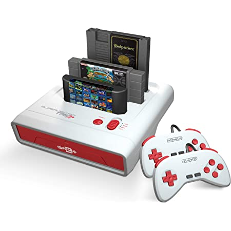 Retro-Bit Super Retro Trio HD Plus 720P Système de console 3 en 1 pour jeux NES, SNES et Sega Genesis Rouge/blanc