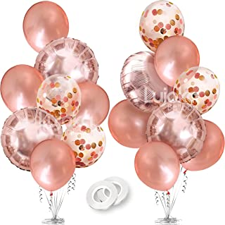 Rose Gold Balloons - Foil & Latex Premium Balloon Set with Confetti 16 Pcs - 18 & 12 inches, 3 Styles + 2 Ribbons - Ideal for Weddings, Birthdays Supplies, Bridal Shower, Engagement Party