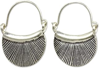 950 Fine Silver Handmade Hinged Endless Hoop Earrings with Oxidized Finish, Diva'