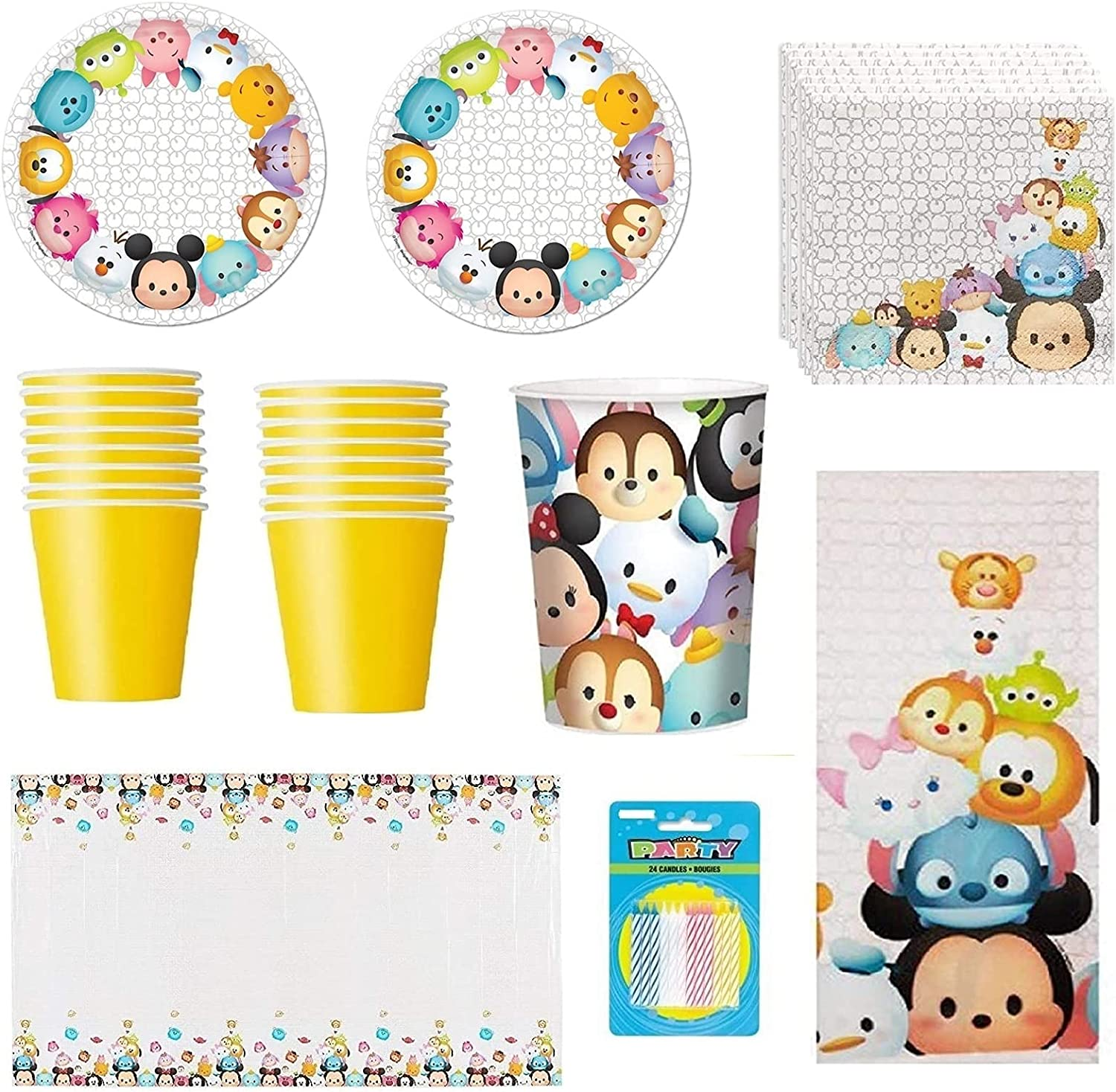 Tsum Birthday Party Supply Bundle 蔵 for 16 新作製品 世界最高品質人気 Plate Set includes