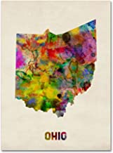 Ohio Map by Michael Tompsett, 24 by 32-Inch Canvas Wall Art