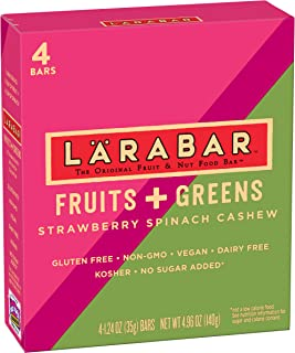 Larabar Gluten Free Bar, Fruits + Greens Strawberry Spinach Cashew, 1.24 oz Bars (4 Count)