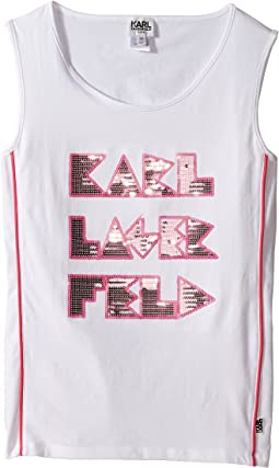 Tank Top w/ Contrast Piping & Sequin Graphics (Big Kids)