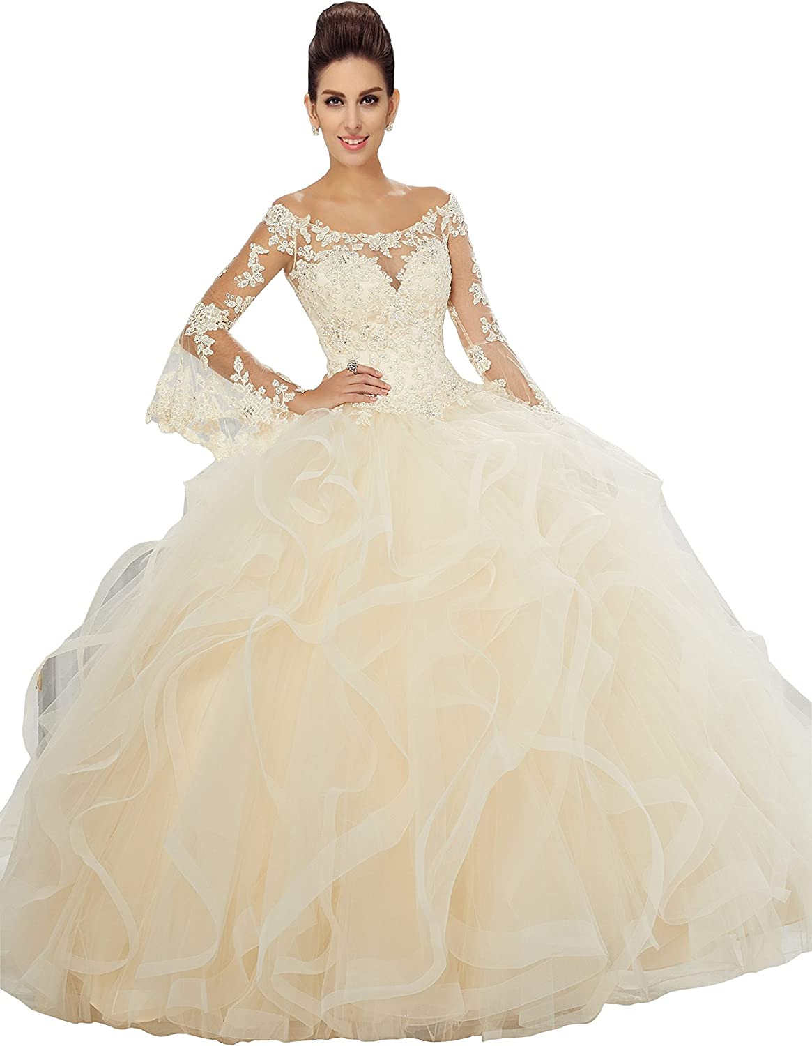 Fannydress Off Shoulder Quinceanera Dresses Ruffles Long Sleeve Sheer Lace Applique Beads Sequins Prom Dress in Sunday 2019