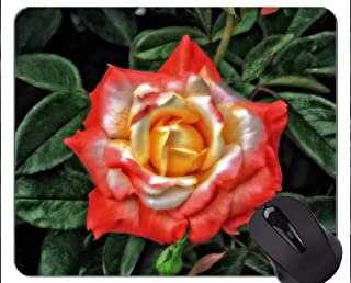 Mouse Pad Non-Skid Natural Rubber Rectangle Mouse Pads,Leaves earth rose flower -Stitched Edges
