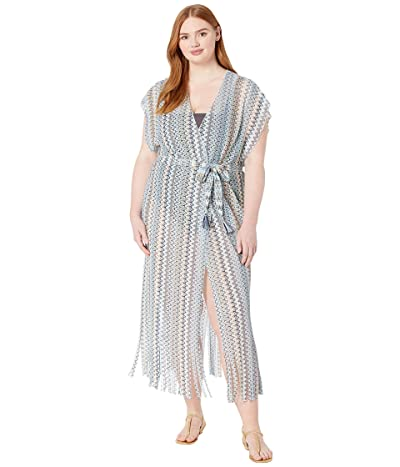 BECCA by Rebecca Virtue Plus Size Wander Crochet Sheer Kimono Cover-Up (Blue) Women