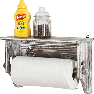 MyGift Wall-Mounted Torched Wood Paper Towel Holder with Display Shelf