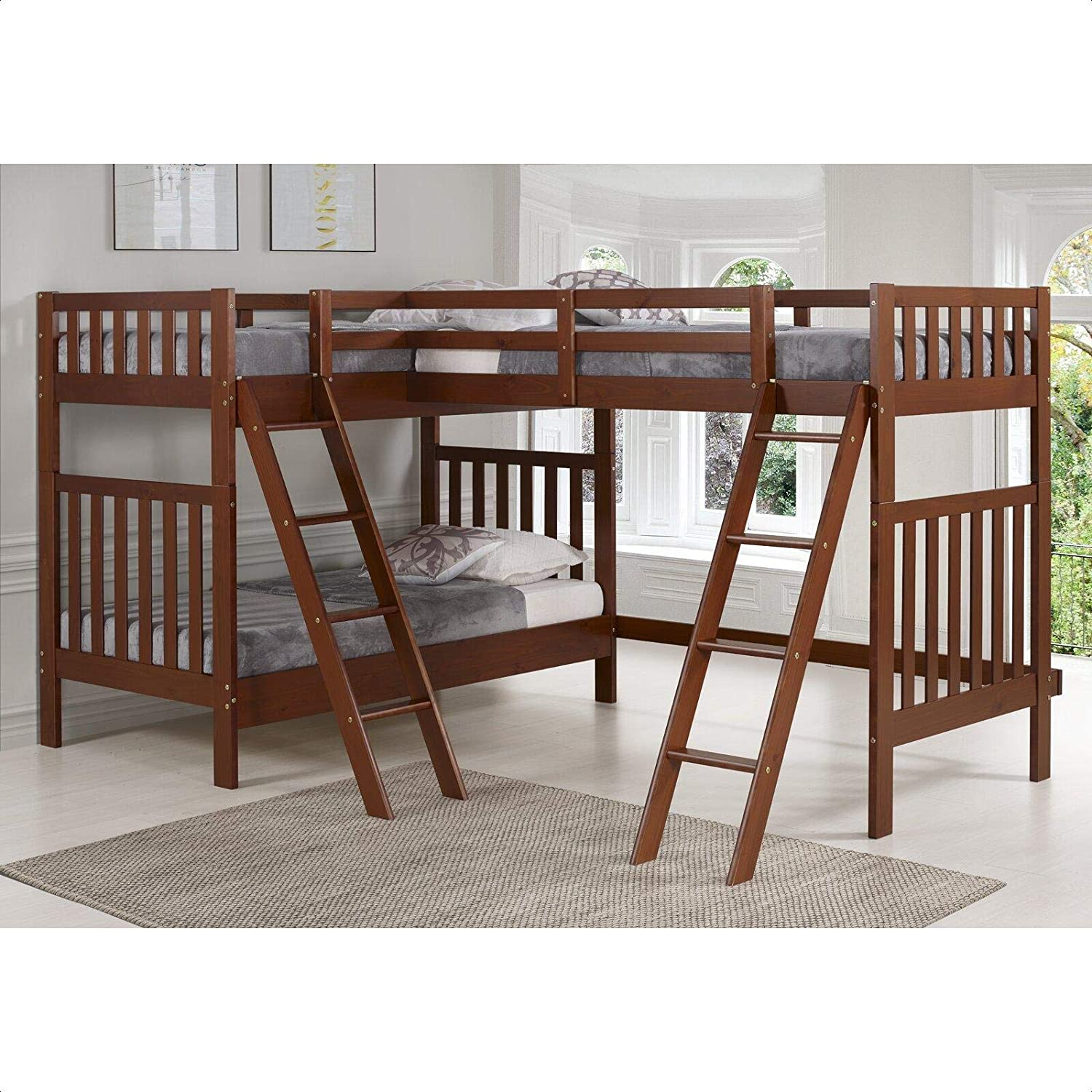 Amazon Com Reasor Twin L Shaped Bunk Bed Kitchen Dining