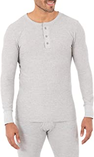 Fruit of the Loom Mens Classic Midweight Waffle Thermal Henley Top Long Sleeve Thermal Underwear Top
